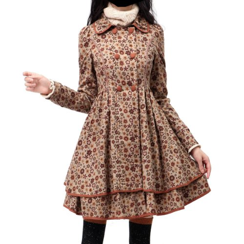 Artka Women's Anne Floral Smart Collar Vintage Cotton Dress Coat,Pinkish Brown,M