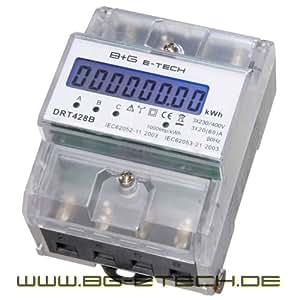 B+G E-Tech DRT428B digitaler Stromzähler Drehstromzähler für DIN Hutschiene , Energiemessgerät 400V 20(80)A mit S0 Schnittstelle