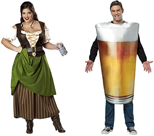 Tavern Maiden & Beer Pint Couples Costume Size:2X/One Size