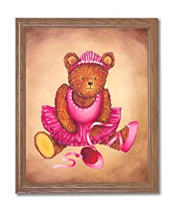 Teddy Bear Pink Tutu Ballet Ballerina Kids Room Wall Picture Oak Framed Art Print