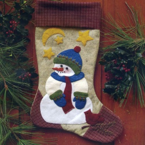 Rachel's Of Greenfield 10-Inch by-15-1/2-Inch Snowman Stocking Woolfelt Applique Kit