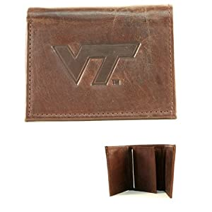 NCAA Officially Licensed Genuine Leather Embossed Tri-fold Wallet - Brown by Rico