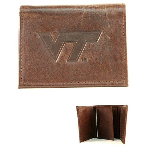NCAA Officially Licensed Genuine Leather Embossed Tri-fold Wallet - Brown