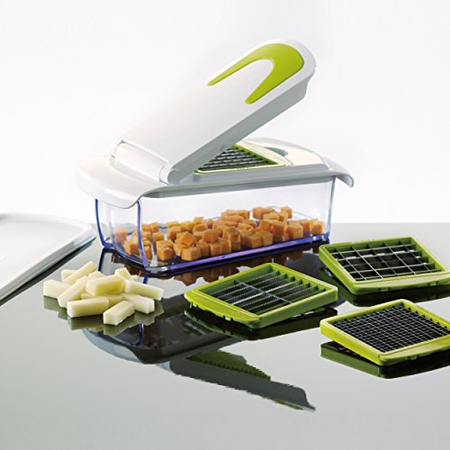 Magic Chopper - 4 Interchangeable Blades - Chop, Cut, Slice & Dice - Great for Fruit & Vegetables - Container with Storage Lid - Perpetual Peeler included and eBook (Manual Potato Slicer compare prices)