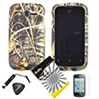 4 items Combo: ITUFFY(TM) LCD Screen Protector Film + Mini Stylus Pen + Case Opener + Wild Outdoor Pond Grass Camouflage Design Rubberized Snap on Hard Shell Cover Faceplate Skin Phone Case for Huawei Ascend Y M866/ H866 / H866C (Straight Talk / U.S.Cellular)