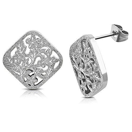 bungsa® Orecchini con fiore Ornament argento sabbiato-1paio acciaio inox Quadrate (orecchini a cerchio orecchini pendenti orecchini orecchini placcati uomo donne donna mode)