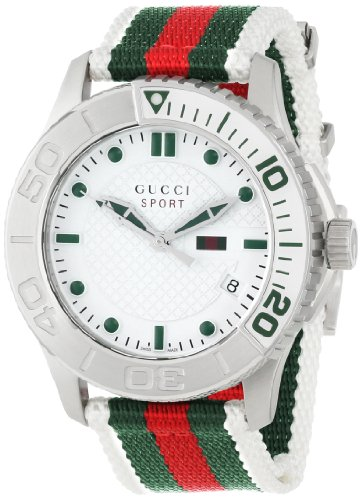 Gucci Men's YA126231 G-Timeless Dive White Dial Nylon Strap Watch
