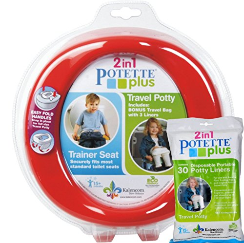 Red Potette Plus Port-a-potty Training Potty Travel Toilet Seat - 2 in 1 Bundle with Potette Plus Liners - 30 Liners - 1