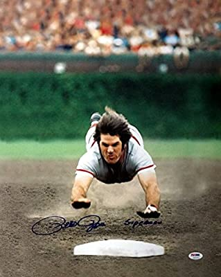 "Pete Rose Cincinnati Reds Autographed PSA/DNA Authenticated 16x20 Photo Reds ""Superman"" - Signed Photos"
