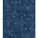 York Wallcoverings DS7738 Walt Disney Kids II Blueprint Planes Wallpaper, Dark Blue/Navy/Grey/Blue/White