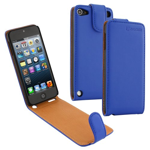 Evecase Ipod Touch 5 Case, Slim Pu Leather Folio Flip Case Pouch Cover Holder Wallet For Apple Ipod Touch 5 5G 5Th Generation (2012 Version) (Blue)