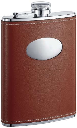 visol-vf1115-bobcat-brown-leather-stainless-steel-8oz-flask