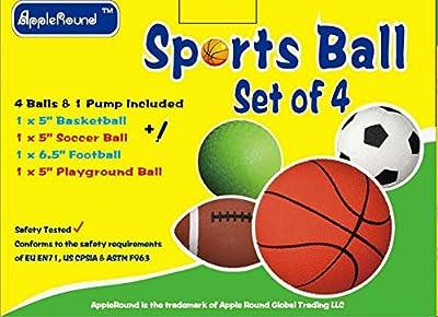 "Set of 4 Sports Balls with 1 Pump, 5"" Soccer Ball, 5"" Basketball, 5"" Playground Ball, 6.5"" Football"