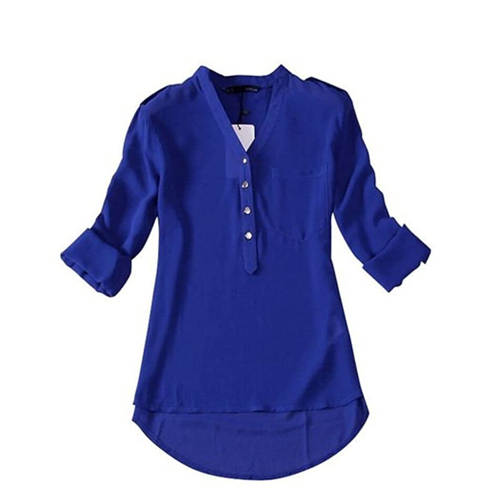 coromose Women's V-neck Chiffon Shirt Blouse at Amazon Women's Clothing store