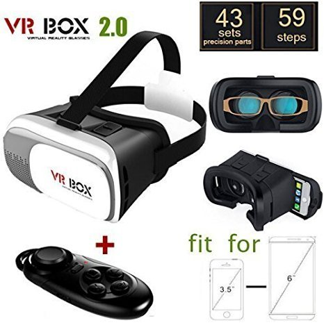 Annbully Cardboard 3D VR Headset BOX Version VR Virtual Reality Glasses for 3D Movies and Games + Smart Bluetooth Wireless Mouse / Remote Control Gamepad