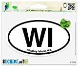 "WI Whidbey Island Washington Oval Vinyl Car Bumper Window Sticker 3"" x 2"""