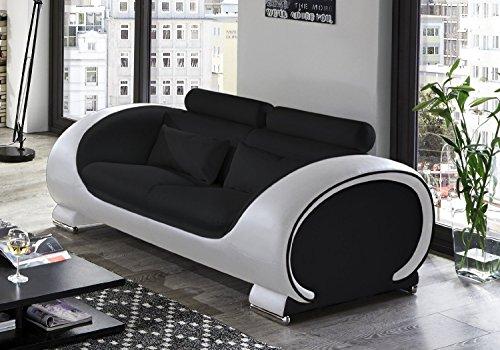 SAM-Design-Sofa-Vigo-2-Sitzer-in-schwarz-wei-mit-bequemen-verstellbaren-Kopfsttzen-futuristisches-Design-angenehmer-Sitzkomfort-pflegeleichte-Oberflche