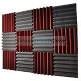 2x12x12 (12 Pk) BURGUNDY/CHARCOAL Acoustic Wedge Soundproofing Studio Foam Tiles