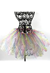 Animal Print Zebra and Leopard Chiffon Tutu for Girls Ages 2-7 (Rainbow Print)