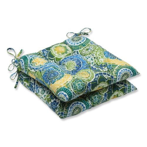 Set of 2 Laguna Mosaico Blue, Green and Yellow Patio Wrought Iron Chair Cushions 19""