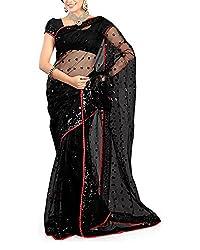 poddar designers Net Saree(SHRV06_Black_Free Size)