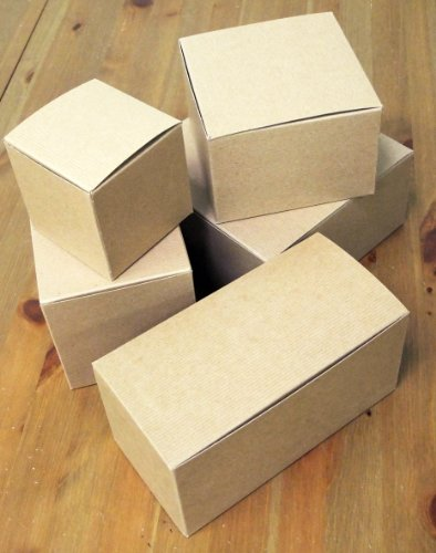 18 ct. Kraft Gift Boxes: 9 x 4 1/2 x 4 1/2 inch with silver stickers
