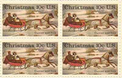 Christmas Currier and Ives Set of 4 x 10 Cent US Postage Stamps NEW Scot 1551