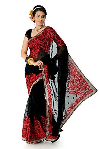 Designersareez Women's Faux Georgette Embroidered Saree Free Size Black