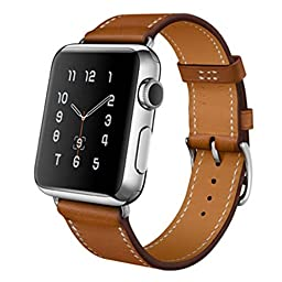 Apple Watch Band, HP95(TM) Replacement Genuine Leather Watchband Band Strap for Apple Watch 38mm/ Apple Watch 42mm all Models ( 38MM, Brown )