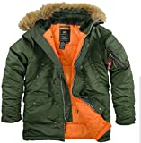 Alpha Industries Men's N-3B Slim-Fit Parka with Removable Faux Fur Hood Trim