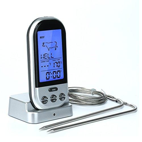 Umiwe-Telecomando Wireless per Barbecue con termometro digitale Termometro per carne, con Timer e 2 sonde per grigliare BBQ forno