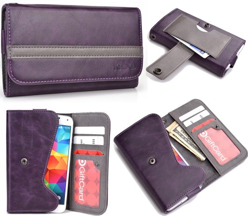 Universal Mens / Womans Wallet Cover Phone Case ( Purple Grey ) Fits Blackberry Q5 +Nuvur Keychain (Esmlgpu1)