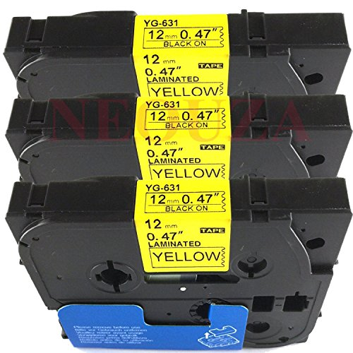 3PK Black on Yellow Label Tape Compatible for Brother TZ-631 TZe-631 12mm P-Touch 26.2ft by P-Brother (Brother Label Tze 12mm compare prices)