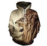 Hikenn Herren Kapuzenpullover Pullover Sweatshirt Hoodies Mode Frühjahr Hoodies Männer Stil 3D Löwe Print Winter Tops Braun (XXXL)