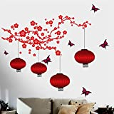 StickersKart Wall Stickers Chinese Lamps in RED - Double Sheet (Wall Covering Area: 175cm x 180cm)