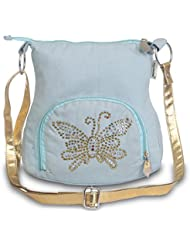 Sling Bag-Sky Blue Small Ladies Canvas Sling Bag With Golden Embroidery And Belt