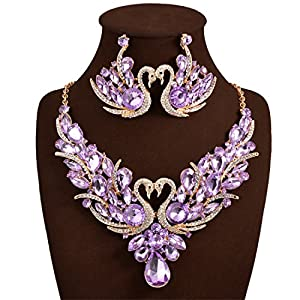 Holylove Purple Color Romantic Bling Crystal Rhinestone Swan Necklace & Earrings Wedding Party Jewelry Set
