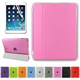 Besdata Ultra Thin Magnetic Smart Cover & Back Case For Apple iPad 2 / iPad 3 / iPad 4 + Screen Protector + Cleaning Cloth + Stylus - Pink - PT2604
