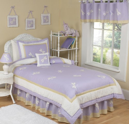 Purple Dragonfly Dreams Girls 4 pc Twin Kids Juevenile Childrens Bedding Set