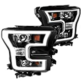 [Jet Black] Ford F150 F-150 Pickup Projector Headlights w/ LED Daytime Lamps