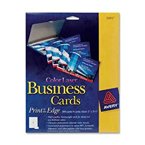 "Avery Color Laser Perforated White 2"" x 3-1/2"" Business Cards, 160 per Pack (5881)"