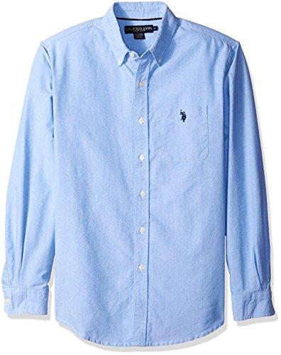 U.S. Polo Assn. Men's Long Sleeve Classic Fit Solid Oxford Cloth Button Down Sport Shirt, Light Blue, Medium (Polo Classic Fit Button Down compare prices)