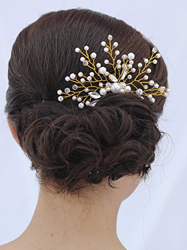 Venusvi Vintage Wedding Hair Combs with Bead and Rhinestones - Bridal Headpiece for Bridesmaids 5