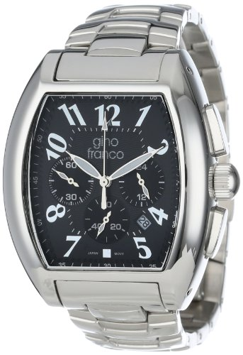 gino franco Men's 9642BK Barrel Shaped Stainless Steel Chronograph Bracelet Watch