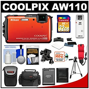 Nikon Coolpix AW110 Shock & Waterproof GPS Wi-Fi Digital Camera (Orange) with 32GB Card + Battery + 2 Cases + Helmet & Handlebar Action Mounts + Strap + Tripod + Accessory Kit