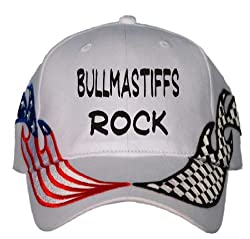 Bull Mastiffs Rock USA Flag / Checker Racing Hat / Baseball Cap