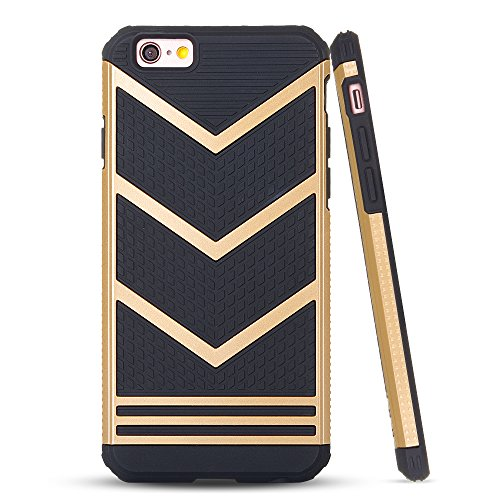iPhone 6s Case, LOEV Anti-slip Shockproof Armor iPhone 6s Protective Case Ultra Slim Fit Non-slip Grip Rubber Bumper Case Cover for Apple iPhone 6 & iPhone 6s 4.7 inch - Gold Chevron Pattern