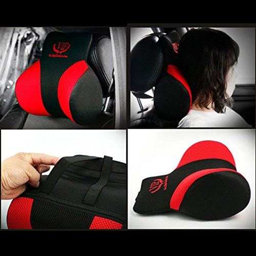 vip red black mesh memory form car seat cushions head neck rest cushion pillow pad for car. Black Bedroom Furniture Sets. Home Design Ideas