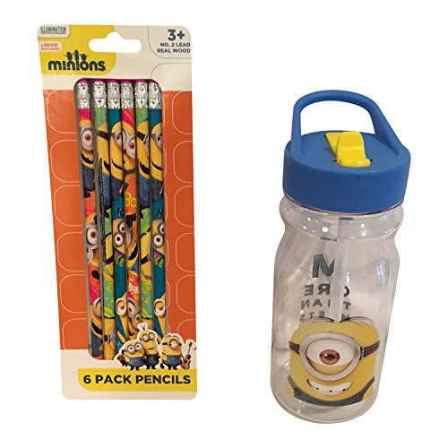 Minion-Backpack-Bundle-Includes-Backpack-Water-Bottle-6-pack-No-2-Pencils