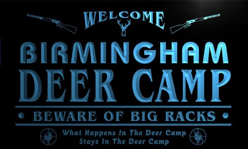 Tu2147-B Birmingham Deer Camp Beware Big Racks Bar Beer Neon Light Sign